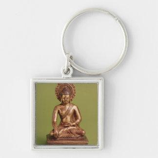 Bouddha assis porte-clé carré argenté