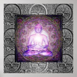 Bouddha et arbre de la vie poster