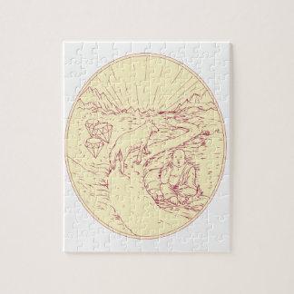 Bouddha et loup sur le dessin de diamants de route puzzle