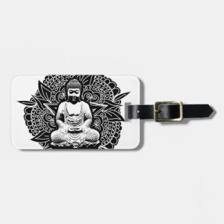 Bouddha fleuri étiquette à bagage