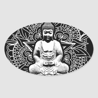 Autocollants ovales bouddha - Stickers bouddha geant ...