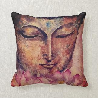 Bouddha font face au coussin d'art d'aquarelle