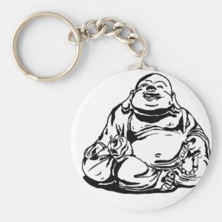 Bouddha heureux porte-clé rond
