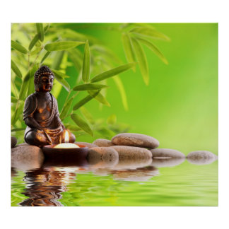 Bouddha vert zen paix méditation calme yoga posters