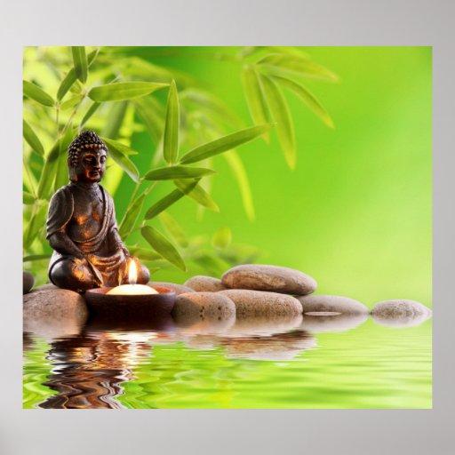 Bouddha, vert, zen, paix, méditation, calme, yoga posters