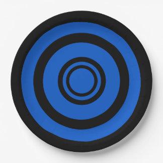 Boudine, cercles concentriques - noir et bleu assiettes en papier