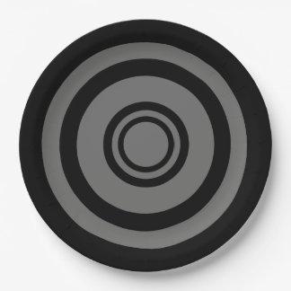 Boudine, cercles concentriques - noir et gris assiettes en papier