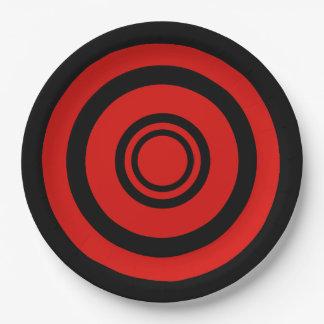 Boudine, cercles concentriques - noir et rouge assiettes en papier
