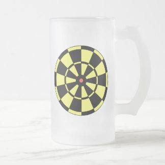 Boudine rouge noire jaune de cible mug en verre givré