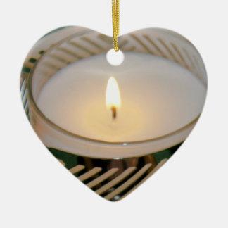 Bougeoir d'argent de bougie de vacances de Noël de Ornement Cœur En Céramique