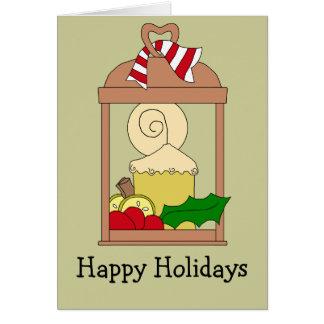 Bougie en laiton antique de Noël de lanterne Carte De Vœux