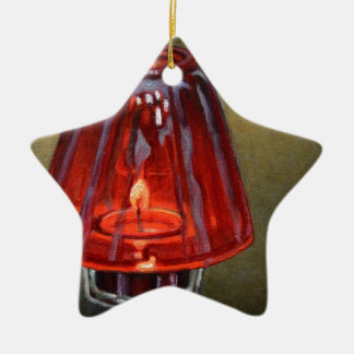 Bougie rouge ornement étoile en céramique