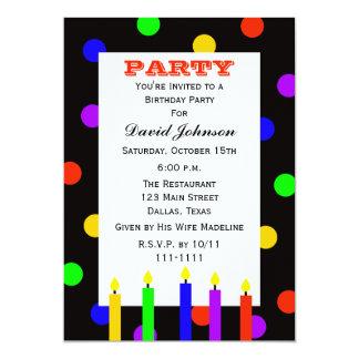 Bougies colorées adultes de fête d'anniversaire carton d'invitation  12,7 cm x 17,78 cm