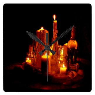 bougies de bois horloge romantiquement mystiques