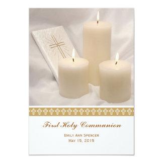 Bougies et sainte communion de livre de prière carton d'invitation  12,7 cm x 17,78 cm