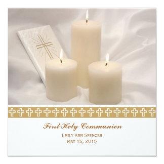 Bougies et sainte communion de livre de prière carton d'invitation  13,33 cm