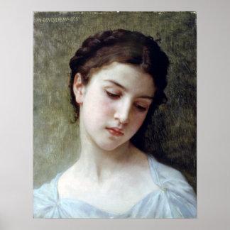 Bouguereau - Etude de Tete De Jeune Fille Poster