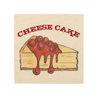 Boulangerie de nourriture de gâteau au fromage de impression sur bois