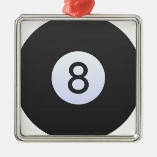 Boule 8 ornement carré argenté