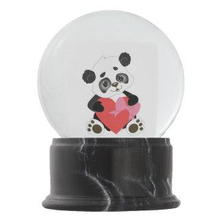 Boule À Neige Je t'aime ours panda de bébé avec le grand coeur