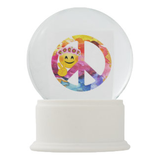 Boule À Neige Signe de paix, art hippie d'aquarelle d'émoticône