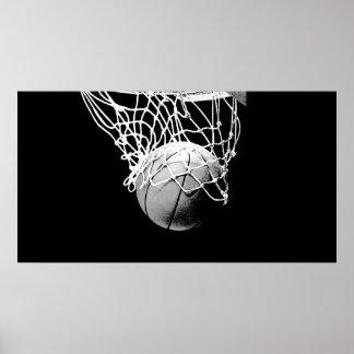 Boule de basket-ball de B&W et affiche d'impressio Posters
