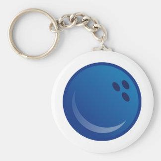 Boule de bowling bleue porte-clé rond