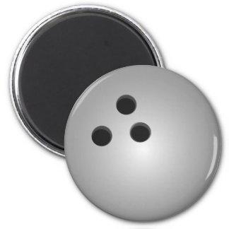 Boule de bowling grise magnet rond 8 cm