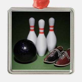 Boule de bowling ornement carré argenté