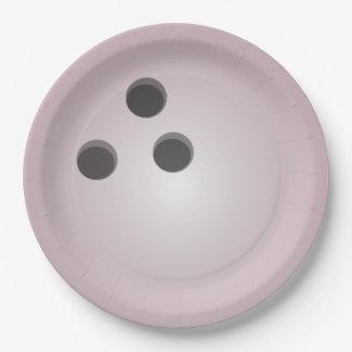 Boule de bowling rose assiette en papier 22,8 cm