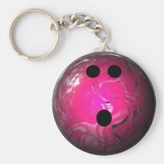 Boule de bowling rose de remous porte-clé rond