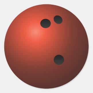 Boule de bowling rouge sticker rond