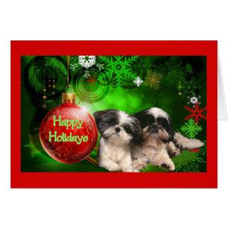 Boule de carte de Noël de Shih Tzu bonnes fêtes