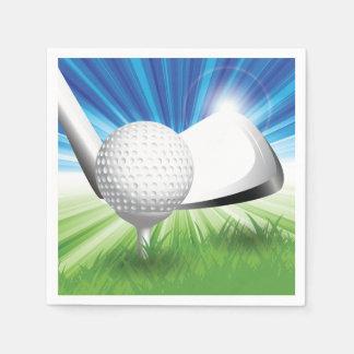 Boule de golf et serviettes de papier de pièce en serviette jetable