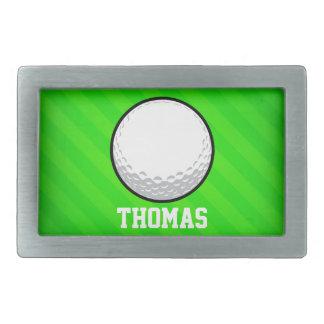 Boule de golf ; Rayures vertes au néon Boucle De Ceinture Rectangulaire