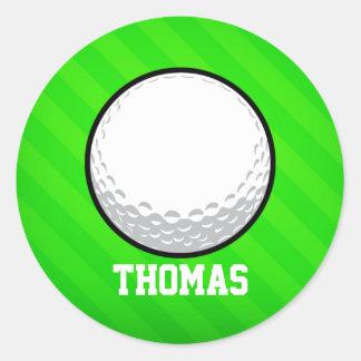 Boule de golf ; Rayures vertes au néon Sticker Rond