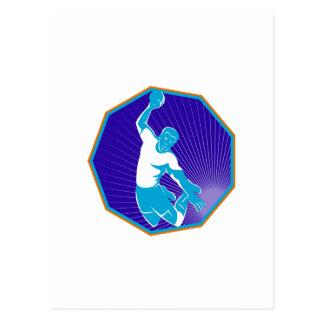 boule de lancement sautante de joueur de handball cartes postales