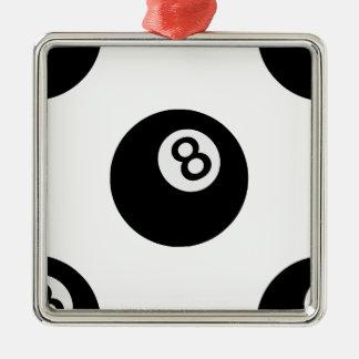 boule de l'emoji huit ornement carré argenté