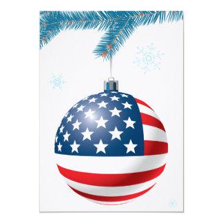 Boule de Noël avec le drapeau des USA Carton D'invitation 12,7 Cm X 17,78 Cm