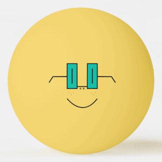 Boule de ping-pong drôle de visage en verre et de balle tennis de table