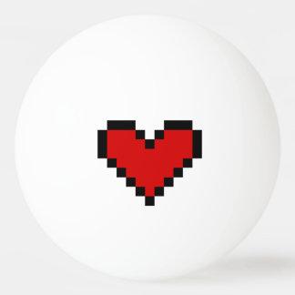 Boule de ping-pong rouge de coeur de pixel pour le balle tennis de table