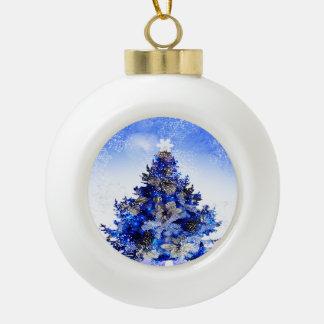 Boule En Céramique Arbre de Noël bleu décoré bleu