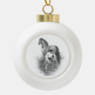 Boule En Céramique Art blanc noir chaussant de cheval vintage de