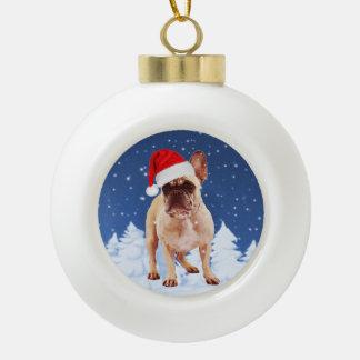 Boule En Céramique Bouledogue français dans le casquette de Noël W