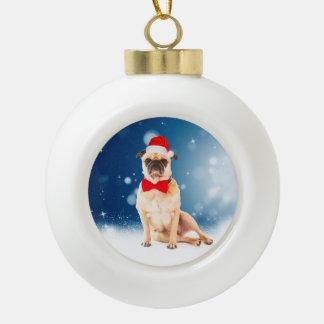 Boule En Céramique Carlin avec le casquette de Père Noël de Noël