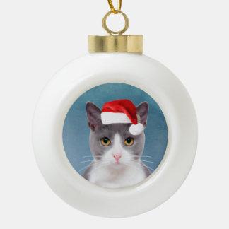 Boule En Céramique Chat portant le portrait de Noël de casquette de