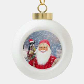 Boule En Céramique Chien de Schnauzer miniature de Noël du père noël