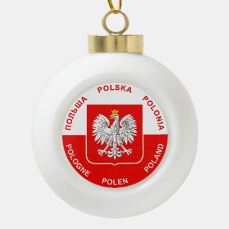 Boule En Céramique Couleurs polonaises de drapeau avec l'ornement de