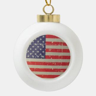 Boule En Céramique Drapeau américain patiné et affligé des Etats-Unis