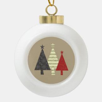 Boule En Céramique Élégant élégant fleuri géométrique d'arbre de Noël